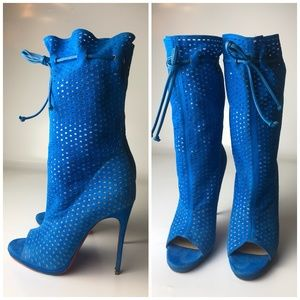 Louboutin Jennifer 120 Perforated Suede Boots 37